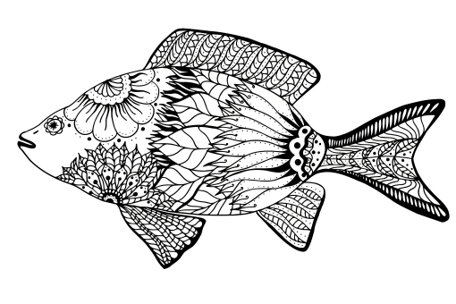 KGCDRF ornamental graphic fish. Vector vintage engraving. Zentangle. Hand drawn artwork. Bohemia concept for restaurant menu card, branding, logo label. Blac